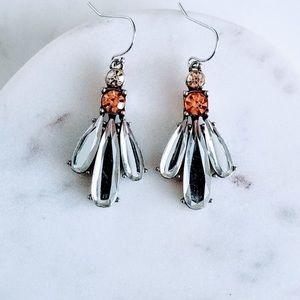 Crystal Dangle Floral Earrings